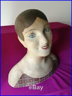 BELLE MAROTTE ART DECO 1920PAPIER MCHE POUR CHAPEAU PERRUQUE DECO H 44 cm