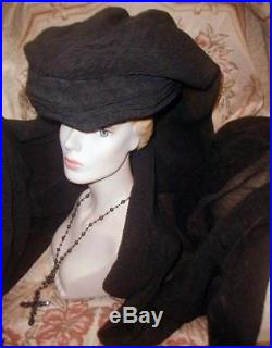 BEST 1911 HUGE Antique Edwardian MOURNING HAT w Long Silk Crepe Veil, 5th Ave NY