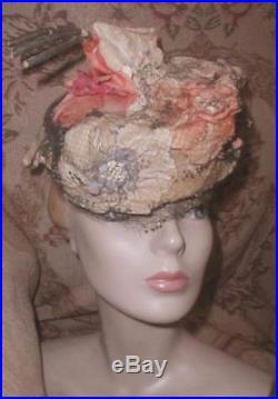 BEST 1940s CAROLINE REBOUX Silk Velvet Flowers Fairy HAT w Puff Veiling PARIS VG