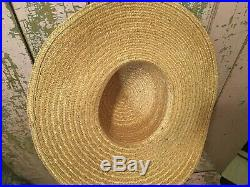 Beautiful Antique Ladies Straw Hat Millinery Roses 1920s-1940s #E