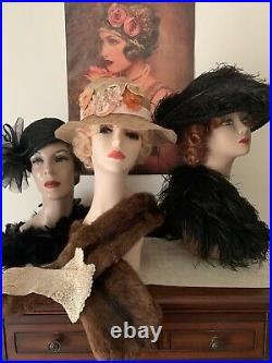 Beautiful Victorian Edwardian Black Horse Hair original antique 1890-1900