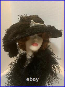 Beautiful Victorian Edwardian Large Black Horse Hair original antique 1890-1900