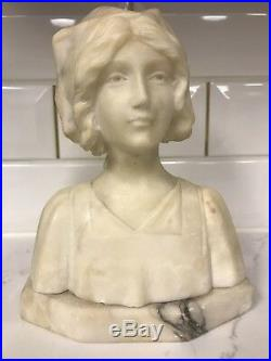 Beautiful Vintage Marble Bust Statue Woman with Hat Nurse Florence Nightingale