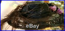 Beautifull Vintage Victorian Womens Hat antique velvet feathers lace beadwork