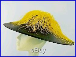 Black Hat Yellow Ostrich Feathers YVONNE California Statement Large Brim Vintage