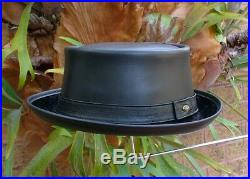 Black Leather English Men's & Women's Pork Pie / Jazz / Ska Hat Vintage Style