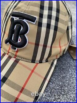 Bnwt Burberry Motif Classic Men/unisex Vintage Check Cotton Large Adjustable Cap