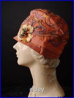 CEEDERBROOK MODELS 1920s Orange Straw & Twill Cloche