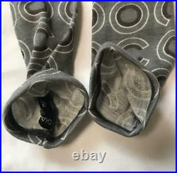 CHANEL Long gloves Wool Gray Coco Logos Vintage