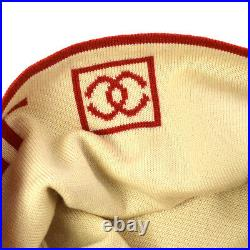 CHANEL Sports Line CC Knitted Hat Red White Wool Vintage Authentic A41649b