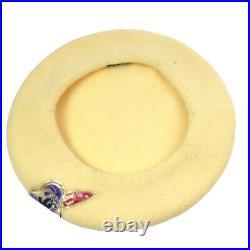 CHANEL Vintage CC Logos Camellia Motif Hat Beret Ivory AK38174k