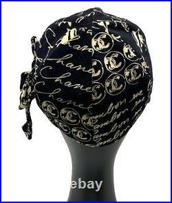 CHANEL Vintage Coco Mark Logo Velvet Hat Casquette #M Cotton Black Beige RankAB