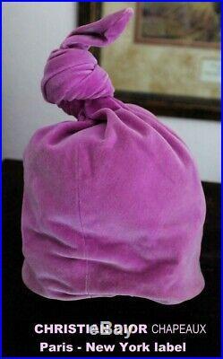 CHRISTIAN DIOR Chapeaux PARIS NEW YORK Fuchsia Velvet TurbanTwist HAT