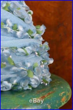 CHRISTIAN DIOR Lily of the Valley Flower Hat Blue Silk Spring Easter Floral Leaf