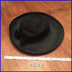 CHRISTIAN DIOR VINTAGE BLACK Designer Elegant Woven Mesh Bow Lightweight HAT