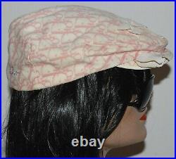 CHRISTIAN DIOR Vintage Pink Trotter Monogram Newsboy Hat Rhinestone