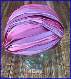 CHRISTIAN DIOR Vtg 50s 60s Asymmetric PINK Purple SATIN HAT Turban Cloche 7/22