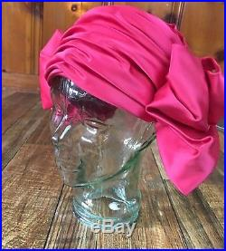 CHRISTIAN DIOR Vtg 50s 60s STUNNING PINK SATIN Minnie Mouse HAT Cloche 7/22