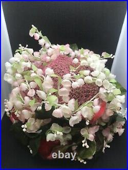 CHRISTIAN DIOR c. 1960's Floral Garden Velvet Bow Flower Pot Cloche Hat