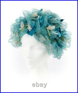 CHRISTIAN DIOR c. 1960s Floral Silk Velvet Ribbon Ruffle Flower Pot Cloche Hat