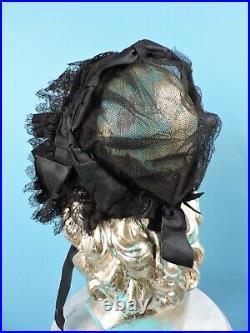 CIVIL War Era Black Silk Tulle Bonnet W Lace And Silk Trims