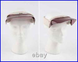 COURREGES c. 1970s Purple White Signature Logo Ski Face Shield Visor Hat Goggles