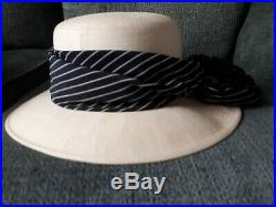Chanel Ivory Sun Hat With Blue Striped Silk Scarf