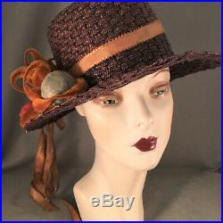 Charming Deep Navy Blue Titanic Era Edwardian Straw Hat With Wonderful Trims