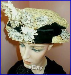 Charming chapeau. Pale lavender flowers. Velvet bow excellent c. 1902