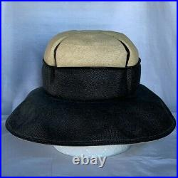 Christian Dior Chapeaux 1960's Black and Ivory Wide Brim Cloche Hat