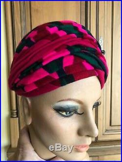 Christian Dior Chapeaux Colorful Vintage 1960's Turban
