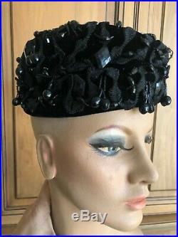 Christian Dior Chapeaux Embellished Vintage 1950 Black Pillbox Hat Jet Cherries