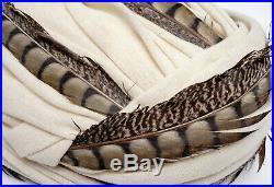 Christian Dior Chapeaux Paris-New York Vintage Ladies Feather Ivory Turban Hat S