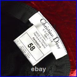 Christian Dior Leopard Pattern Hat Beige #58 Cotton Vintage Authentic AK31562e