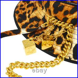 Christian Dior Leopard Pattern Hat Brown #58 Cotton Vintage Authentic AK31551i