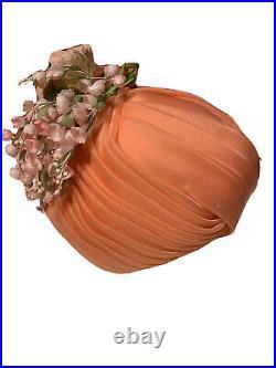 Christian Dior Vintage 1950s/1960s Peach Pink Turban Hat