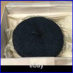 Christian Dior Vintage Beret Hat Cap Blue Denim Veil Gold Logo Size 58 cm France