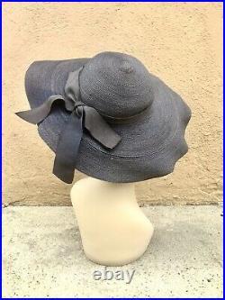 Custom Made Bespoke Vintage 1940s Woman's Cartwheel Style Navy Blue Hat