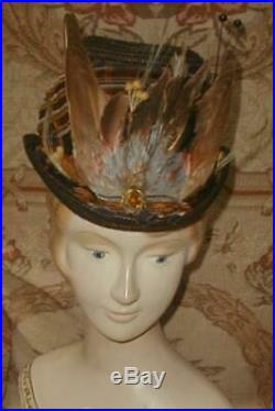 Dashing 1870s Victorian Postilion Riding Cycling Hat w Silk Ribbon, Feather Wings