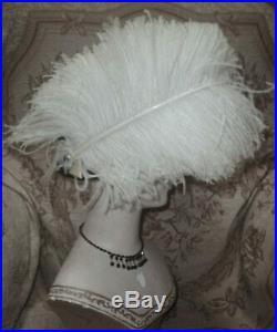 Downton Abbey Era Antique Edwardian Silk Cloche w Big White Ostrich Plumes +