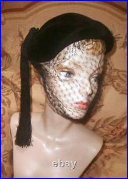 EARLY Christian DIOR Matador Black Felt HAT, Long Tassel Made in France 1949-52