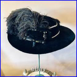 EDWARDIAN 1900s Gibson Girl WIDE BRIM withJET GLASS BUCKLE OSTRICH PLUME FEATHERS