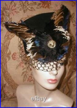 EXOTIC French Art Deco 1930s Owl Head Hat J. SUZANNE TALBOT Paris Feather Wings