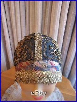 EXQUISITE 20 BLUE & GOLD CLOCHE HAT WithGOLD CORD SUTACHE TRIM, PLEATED BRIM