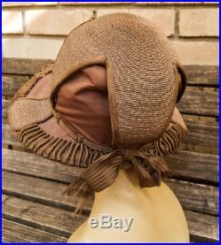 EXQUISITE! ANDREA OF PARIS Vtg Antique EDWARDIAN 1910s-1920s Satin CLOCHE Hat