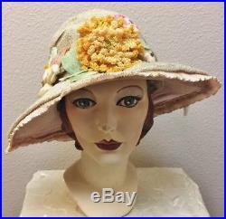 347ea6750521a Early 1920s Gatsby Era Large Brimmed Ecru Straw Cloche Fab Trim