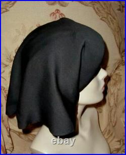 Early Couture 1950s Christian DIOR New York NUN'S HAT Black Silk Draped Veil