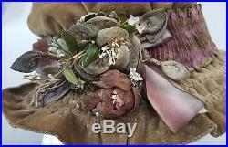 Edwardian 1910s Beige Velvet Ribbonwork Lame Flowers Hat Vintage Antique 10s
