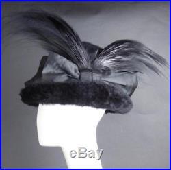 Edwardian Black Fur Felt & Feather Hat