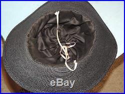 Edwardian Black Straw Hat w Burgundy Velvet Bow / Pink Flowers MED LG